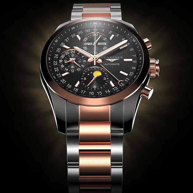 3D Rendering of the Longines Conquest Classic Moonphase Watch commissioned for Longines in 2013