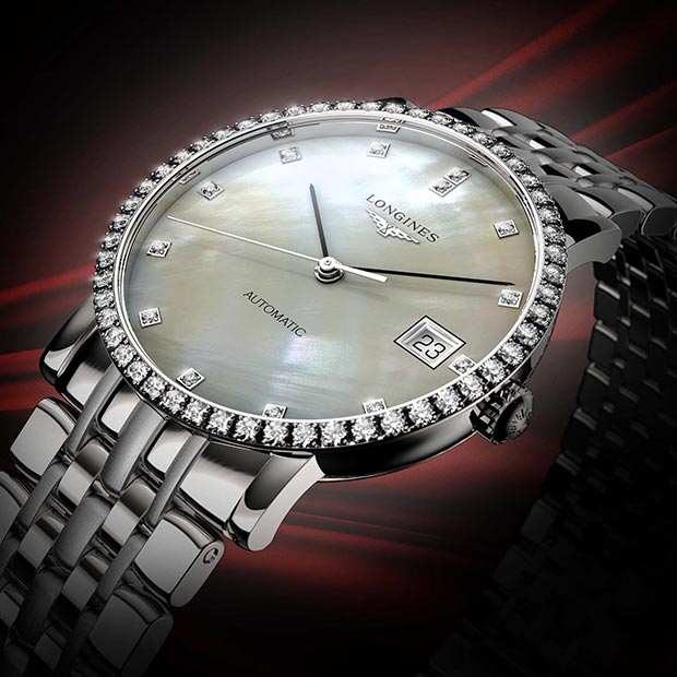 3D Rendering of the Longines Elegant Collection Mother of Pearl Watch commissioned for Longines in 2013