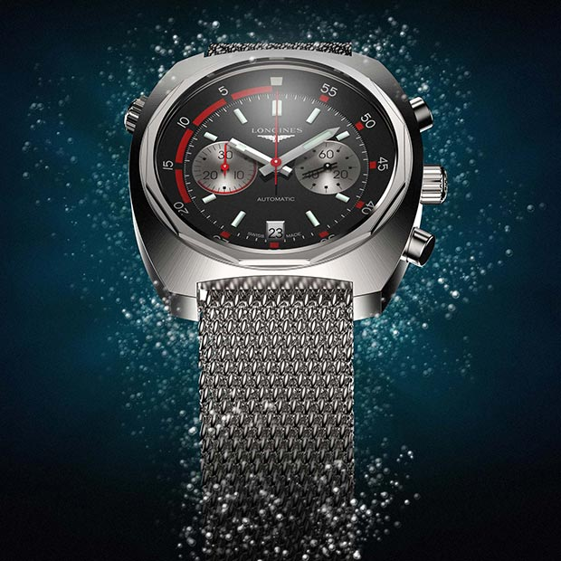 3D Rendering of the Longines Heritage Diver Watch commissioned for Longines in 2013